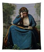The Reader Crowned With Flowers Tapestry