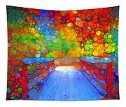 The Red Bridge In Autumn Tapestry