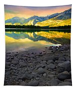The Rockies Reflected At Lake Annettee Tapestry