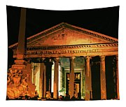 The Roman Pantheon At Night Tapestry