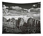 The Rugged Red Rocks In Black And White  Tapestry