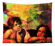 The Sistine Modonna Baby Angels In Abstract Space 20150622 Tapestry