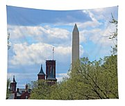 The Smithsonian Castle And Washington Monument In Green Tapestry
