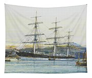 The Square-rigged Australian Clipper Old Kensington Lying On Her Mooring Tapestry
