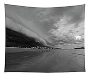 The Storm Rolling In To Good Harbor Beach Gloucester Ma Black And White Tapestry