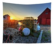The Sun Rising By Motif 1 In Rockport Ma Bearskin Neck Lobster Traps Tapestry