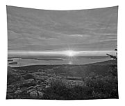 The Sunrise From Cadillac Mountain In Acadia National Park Black And White Tapestry