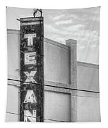 The Texan Theater Marquee In Black And White Tapestry