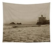 The  Third Cliff House And Seal Rocks From Pier, San Francisco,  Circa 1895 Tapestry