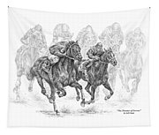 The Thunder Of Hooves - Horse Racing Print Tapestry