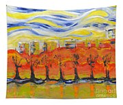 The Trees In Red. Day_march, 28  2015, Nizhny Novgorod, Russia_ Tapestry