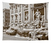 The Trevi Fountain In Sepia Tones Tapestry