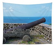 The View From Fort Rodney On Pigeon Island Gros Islet Saint Lucia Cannon Tapestry