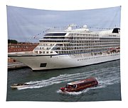 The Viking Star Cruise Liner In Venice Italy Tapestry