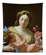 The Virgin And Child With A Rose Tapestry