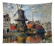 The Windmill Amsterdam Claude Monet 1874 Tapestry