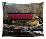 The Wissahickon Creek In Autumn - Thomas Mill Covered Bridge Tapestry