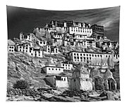 Thiksey Monastery - Paint Bw Tapestry