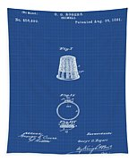 Thimble Patent 1891 In Blue Print Tapestry