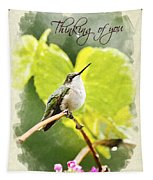 Thinking Of You Hummingbird In The Rain Greeting Card Tapestry
