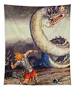 Thor Went Forth Against Jormungand Tapestry