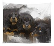 Three Adorable Black And Tan Dachshund Puppies Tapestry