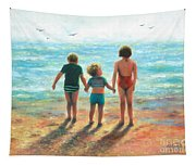 Three Beach Children Siblings  Tapestry