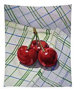 Three Sweet Cherries By Irina Sztukowski Tapestry