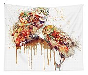 Three Cute Owls Watercolor Tapestry