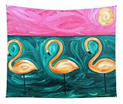 Three Flamingoes Tapestry