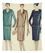 Three Flappers Modelling French Designer Outfits, 1928 Tapestry