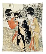 Three Girls Paddling In A River Tapestry