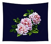 Three Pink Roses With Leaves Tapestry