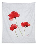 Three Red Poppies Tapestry