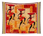 Three Tribal Dancers L A With Decorative Ornate Printed Frame. Tapestry