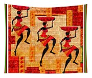 Three Tribal Dancers L B With Alt. Decorative Ornate Printed Frame. Tapestry