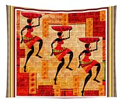 Three Tribal Dancers L B With Decorative Ornate Printed Frame Tapestry