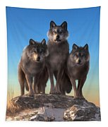 Three Wolves Watching You Tapestry