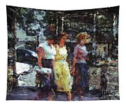 Three Women In Town Tapestry