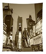 Times Square Ny Overlooking The Square Sepia Tapestry