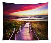 To The Beach Early Morning Watercolor Painting Tapestry
