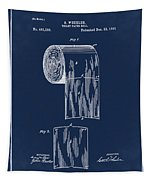 Toilet Paper Roll Patent 1891 Blue Tapestry