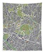 Tokyo City Map Engraving Tapestry
