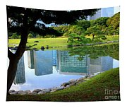 Tokyo Skyscrapers Reflection Tapestry