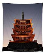 Tokyo Temple Lights At Dusk Tapestry