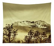 Toned View Of A Snowy Mount Gell, Tasmania Tapestry