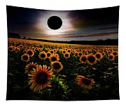 Total Eclipse Over The Sunflower Field Tapestry