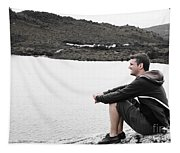 Tourist Seated At Dove Lake Lookout In Tasmania Tapestry