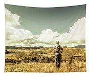 Tourist With Backpack Looking Afar On Mountains Tapestry