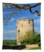 Tower At Chateau De Chinon Tapestry